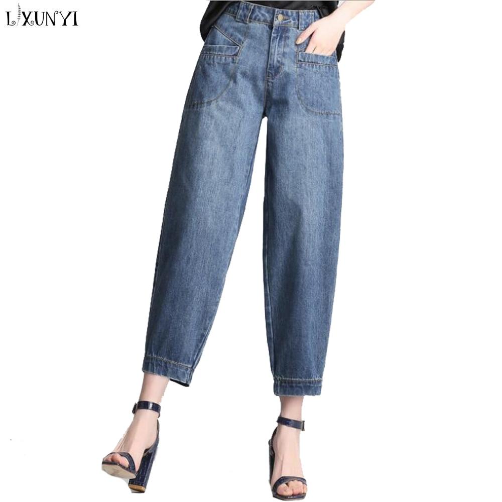 LXUNYI XS-8XL Harem   jeans   Women Plus Size 2019 Spring Vintage Women's Loose   Jeans   high Waist Casual Knee Length Lantern Pants