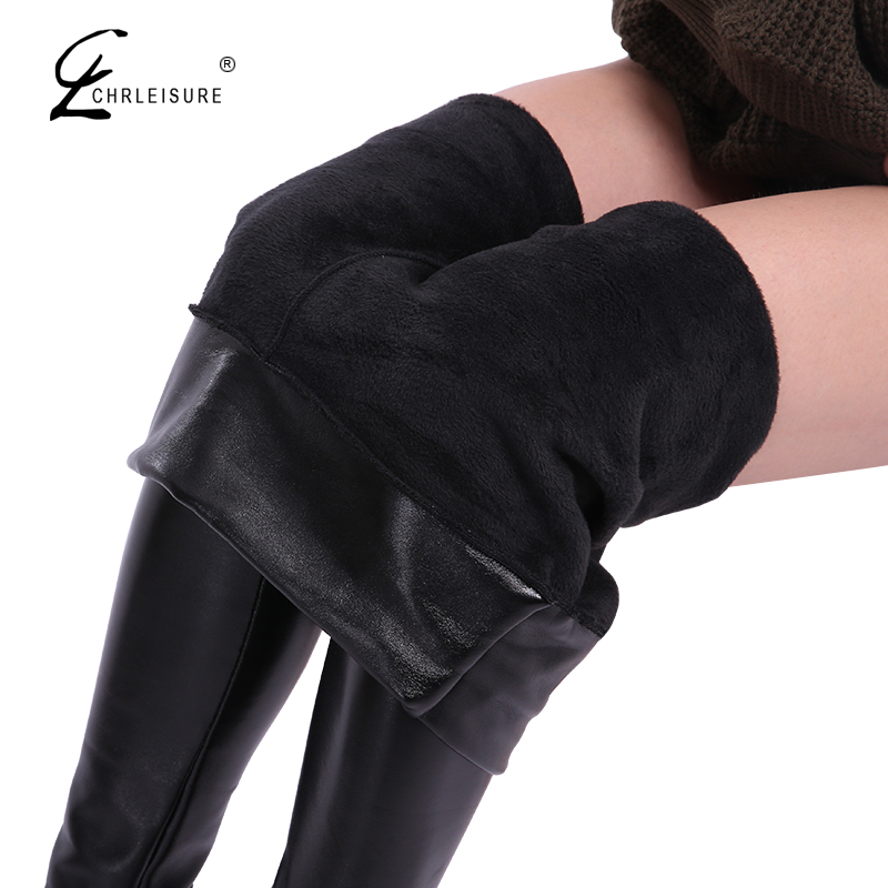 CHRLEISURE Winter Leather Leggings Women High Waist Warm Black Leggins Punk Push Up Leggings Thick Velvet Solid Legging S-5XL