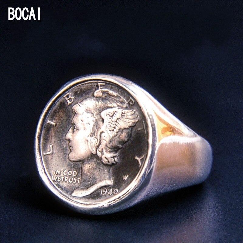 Bague en argent Sterling 925 personnalisée avec pièce de monnaie Antique