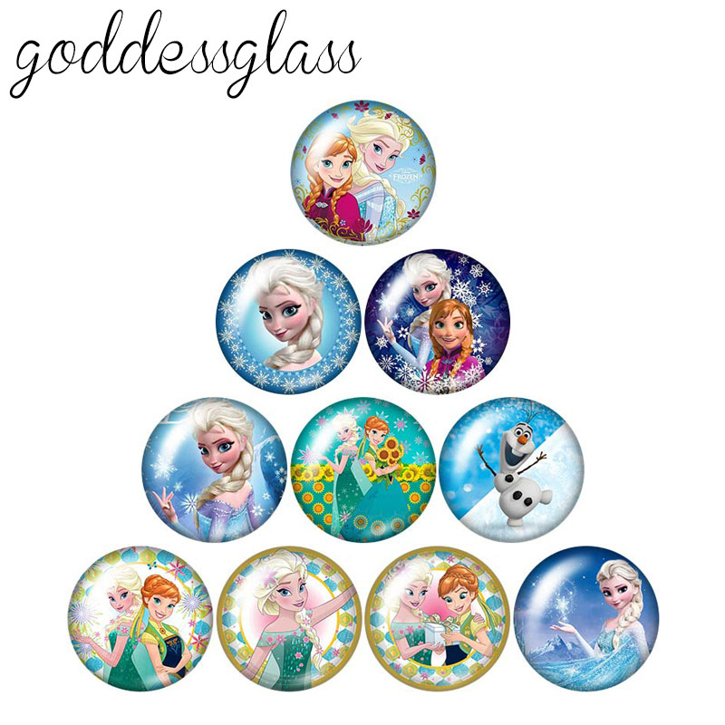 Fashion Cartoon Princesses Elsa 10pcs 12mm/18mm/20mm/25mm Round Photo Glass Cabochon Demo Flat Back Making Findings ZB0098