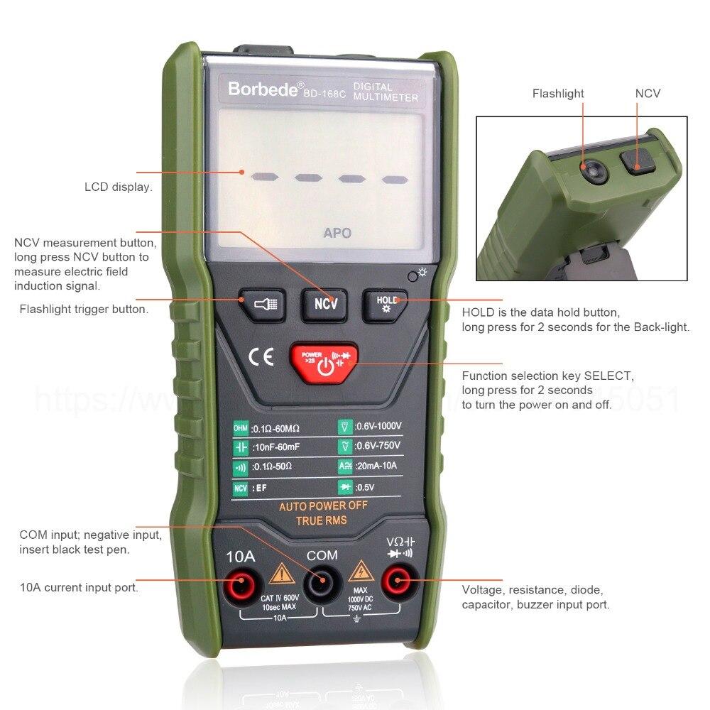 Tester AC Digital Portable Auto Scanning 168C Borbede 6000 Resistance Multimeter Smart Count Capacitance DC