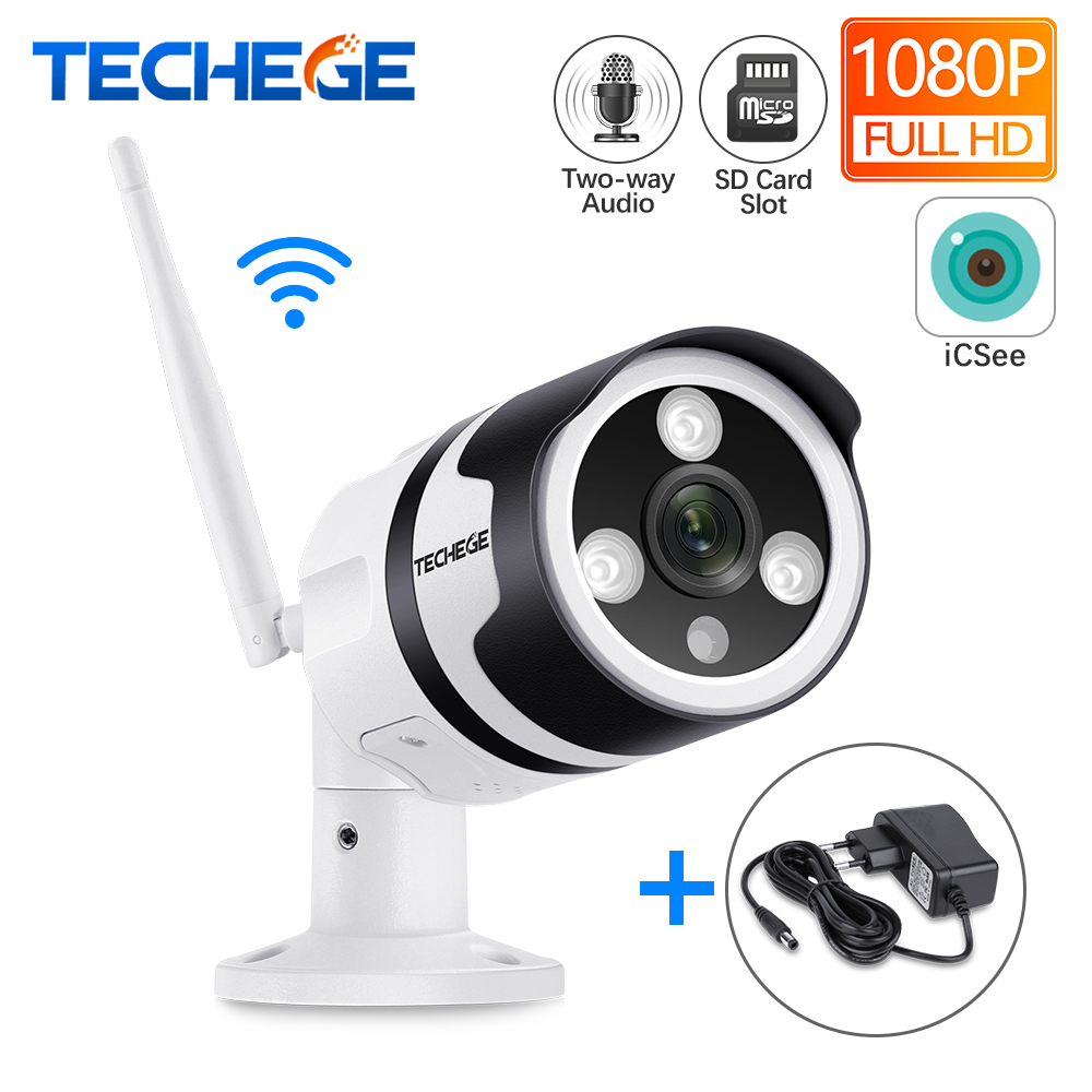Techege Wifi IP Camera 1080P Outdoor Waterproof 2.0MP Wired Wireless Security Camera Metal Two Way Audio TF Card Email Alert