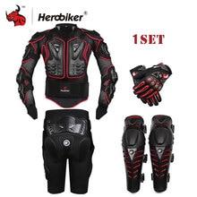 HEROBIKER Siyah Motosiklet Yarış Vücut Zırh Motosiklet Ceket + Dişliler Kısa Pantolon + Motosiklet Diz Koruyucu + Moto eldiven
