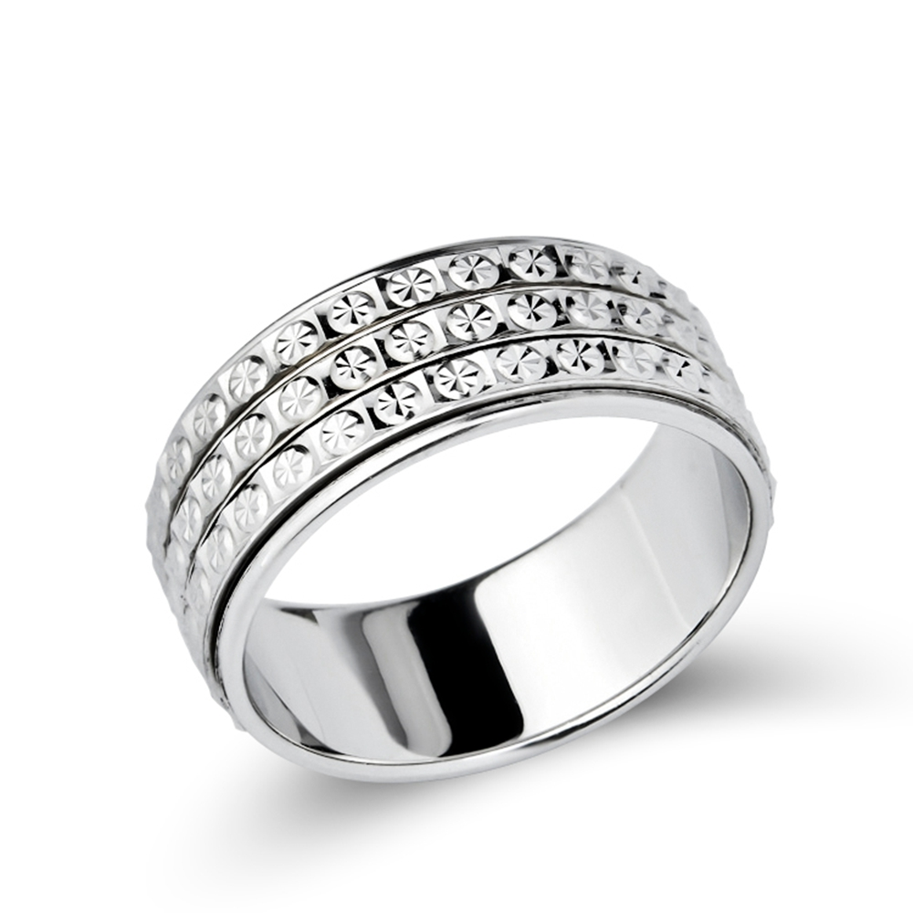 Mode 925 Sterling Perhiasan Perak Cincin Tiga Baris CZ Batu pria - Perhiasan bagus