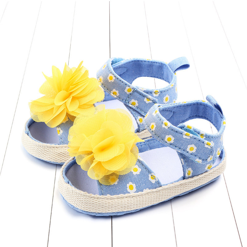 Baby Girl Sandals Summer Baby Girl Shoes Cotton Flower Baby Girl Sandals Newborn Baby Shoes Beach Sandals Nonslip Princess Shoes