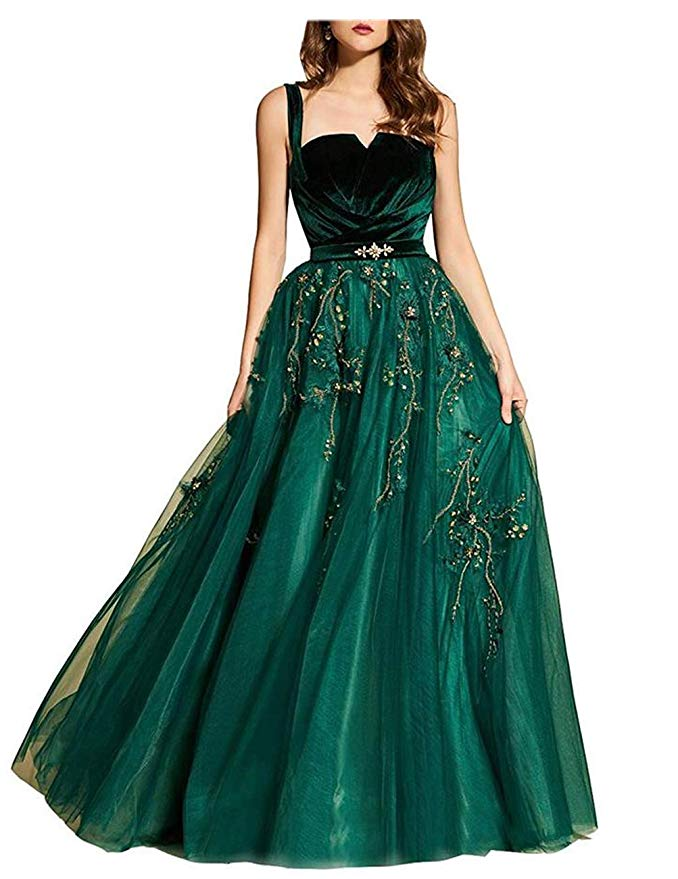 A-Line Straps Pleated Beads Prom Dress 2019 Dark Green Party Evening Dresses Abendkleider Evening Gown