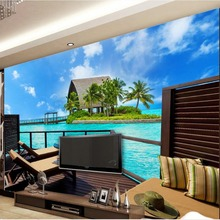Papel pintado 3d personalizado moderno y simple cubierta de observación balcón al aire libre con vista al mar papel pintado 3d pintura de pared