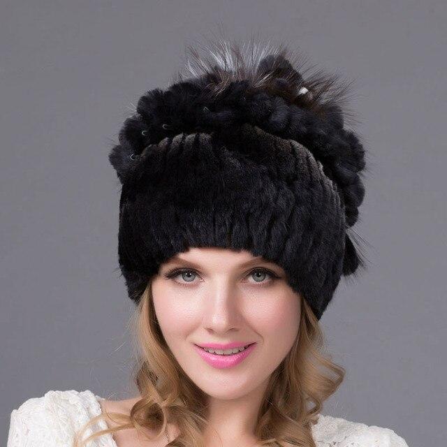 67ad201d73e Real fur hat female winter real Rex rabbit fur cap silver fox fur plush  ball top