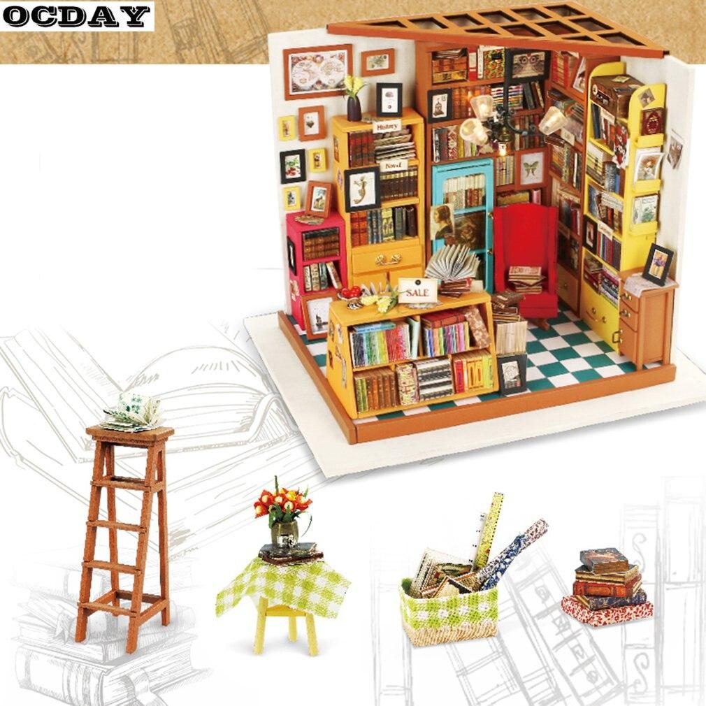 DIY кукольный домик 3D деревянные головоломки миниатюрная мебель ручной работы комплект книжный магазин модели развивающие игрушки из дерев...