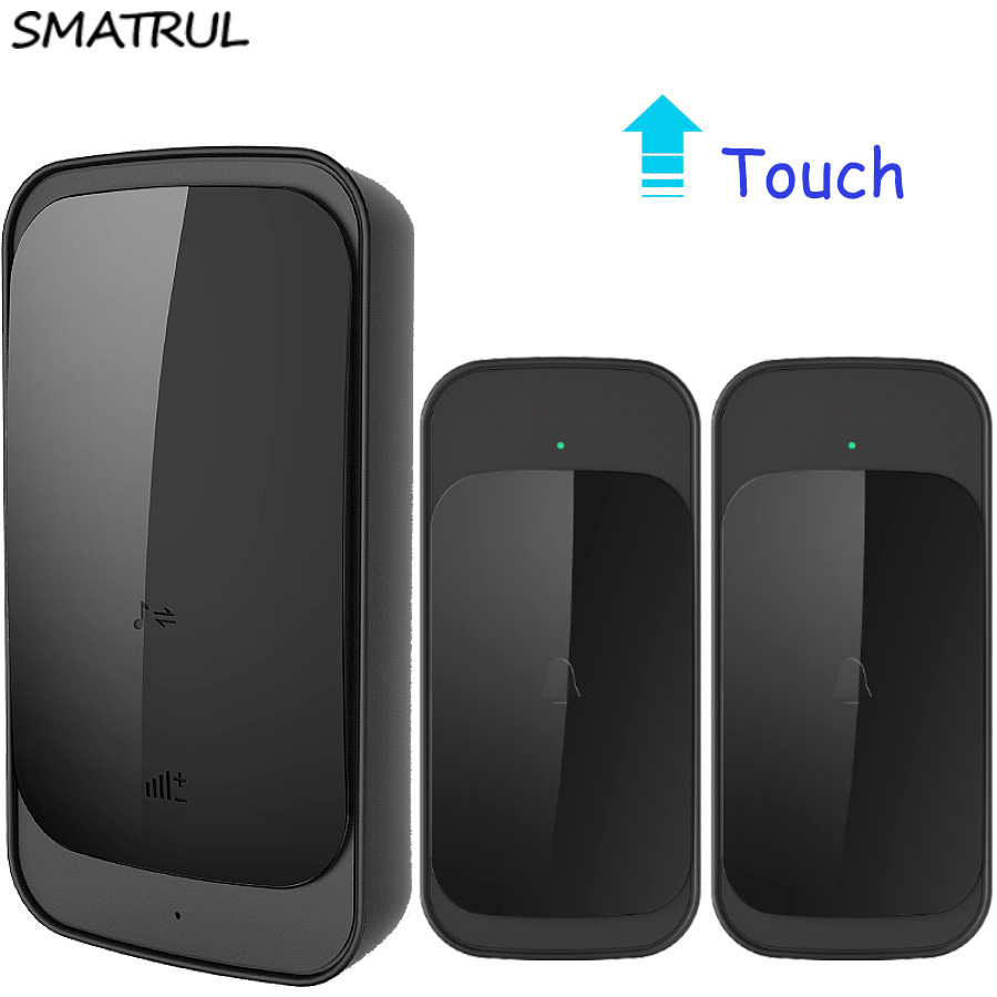 SMATRUL touch Waterproof Wireless Doorbell EU US Plug 280M long range smart Door Bell Chime with batttery 2 button 1 receiver door bell with 36 chimes single receiver waterproof plug in type wireless doorbell cordless smart door bells doorbells