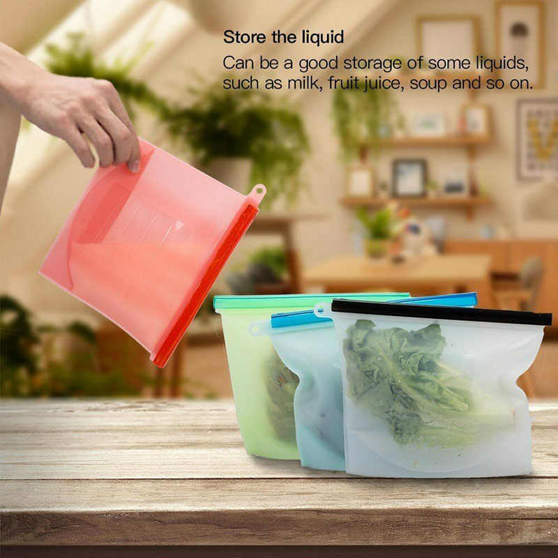 4Pcs Silicone Zip Lock Leakproof Containers Bags Kitchen Supplies Contenitore a tenuta stagna in silicone BDF99