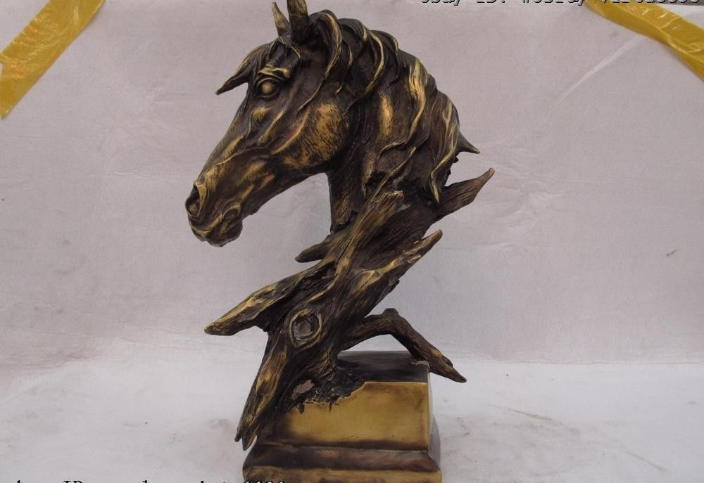 15.5 Chinese Old Bronze Copper Exquisite Decoration Lucky Horse Head Art Statue