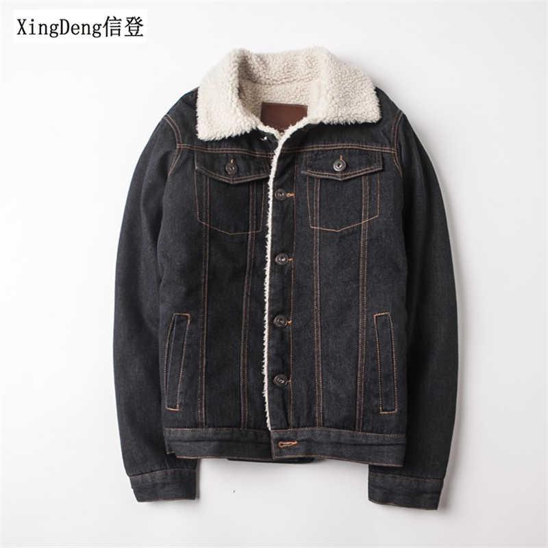 Xingdeng 2020 남자 겨울 패션 카우보이 재킷 유행 따뜻한 양 털 데님 자 켓 탑 코트 망 장 재킷 outwear 남성 플러스 2xl