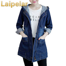 2018 New Arrival Jacket Women Spring Autumn Wear Vintage Hooded Jeans Coat Slim Zipper Casual Female Overcoat Laipelar