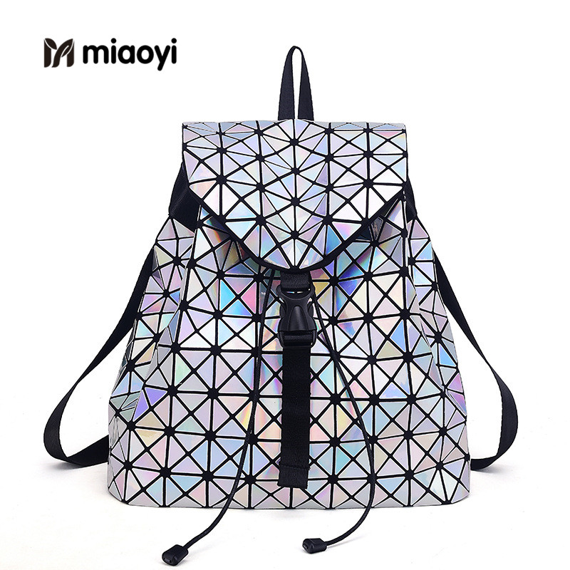 Selling Fashion Women Backpack Feminine Geometric Plaid Sequin Female Backpacks for Teenage Girls Travel Drawstring Backpack drawstring front ruffle plaid blouse