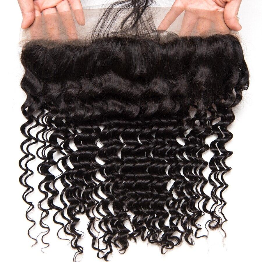 Mslynn Cheveux Brésiliens Deep Wave Fermeture Pré Dentée Plumée - Cheveux humains (noir) - Photo 3