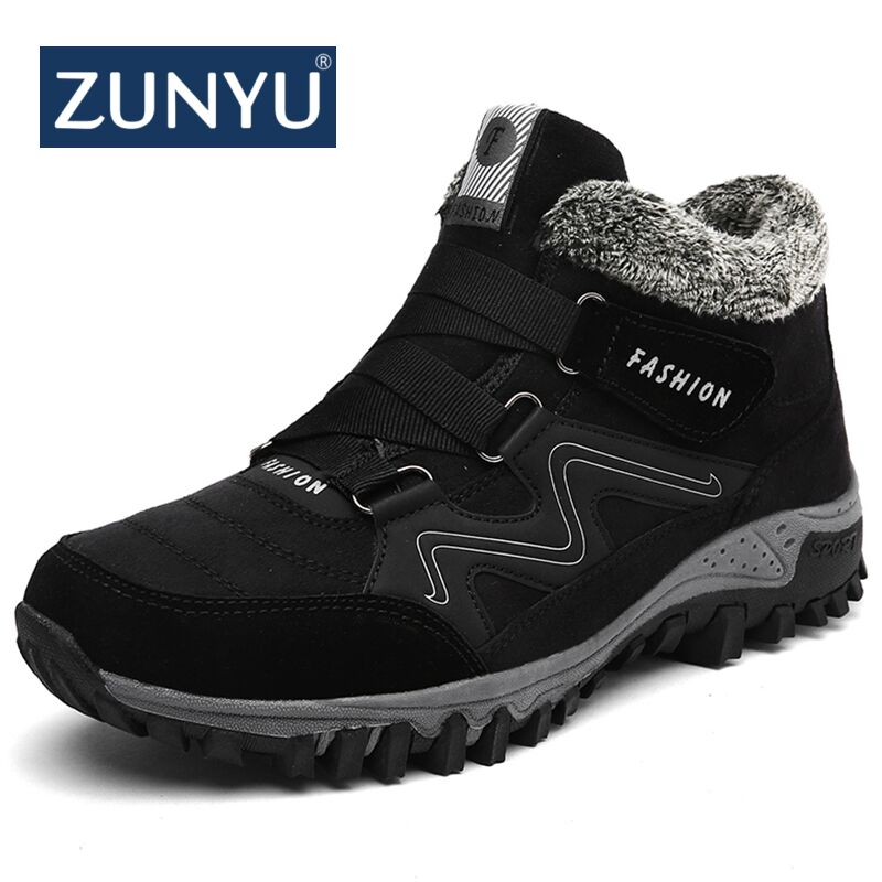 ZUNYU New Men Boots Winter With Plush Warm Snow Boots Casual Men Winter Boots Work Shoes Men Footwear Fashion Ankle Boots 39-46 plush casual suede shoes boots mens flat with winter comfortable warm men travel shoes patchwork male zapatos hombre sg083
