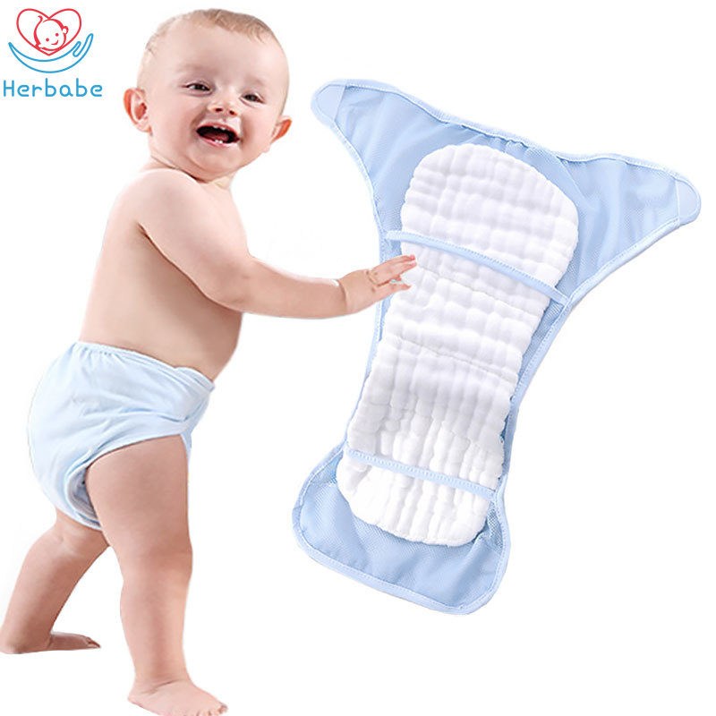 Herbabe 2pcs Baby Mesh Cloth Diapers Summer Reusable Washable Pocket Diaper Cover Newborn Infant Nappies Training Pants 3-15 Kg
