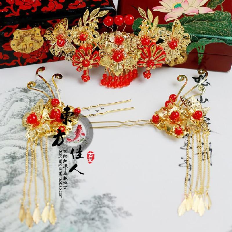 Women's Hair Tiaras Wedding Bride Hair Jewelry Gold Phoneix 3 designs ming dynasty emperor s hat imitate earthed emperor wanli gold mesh hat groom wedding hair tiaras for men 3 colors