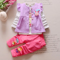 Free Shipping New Flower Set Baby Girl Outfits Clothing Sets Kids 3Pcs Coat+T-shirt+Pants Children Cute Princess Print Clothes