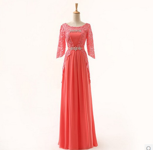 Lace Brides Maid Dresses Coral