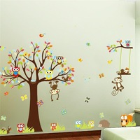 Lovely Monkeys Tree Wall Stickers For Kids Room Home Decoration Animals Adesivo De Parede 1212