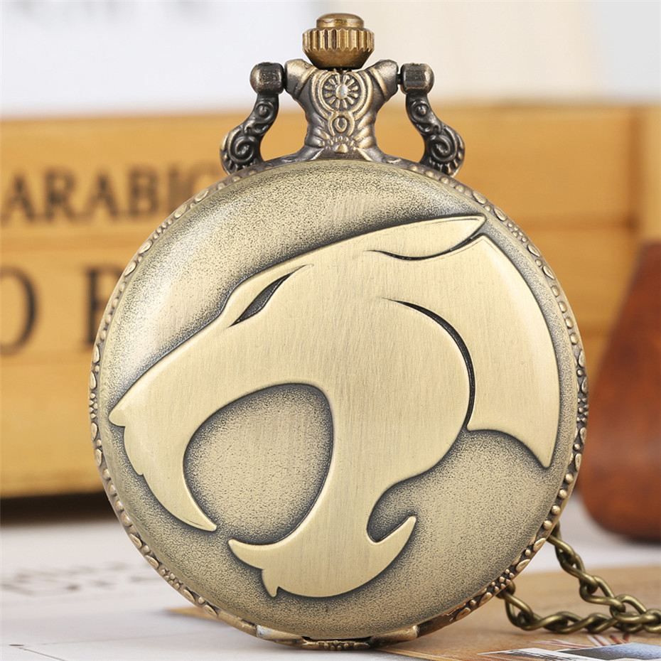 Punk Cool Panther Head Display Quartz Pocket Watch Bronze Necklace Pendant Chain Antique Jewelry Unisex Clock Reloj De Bolsillo