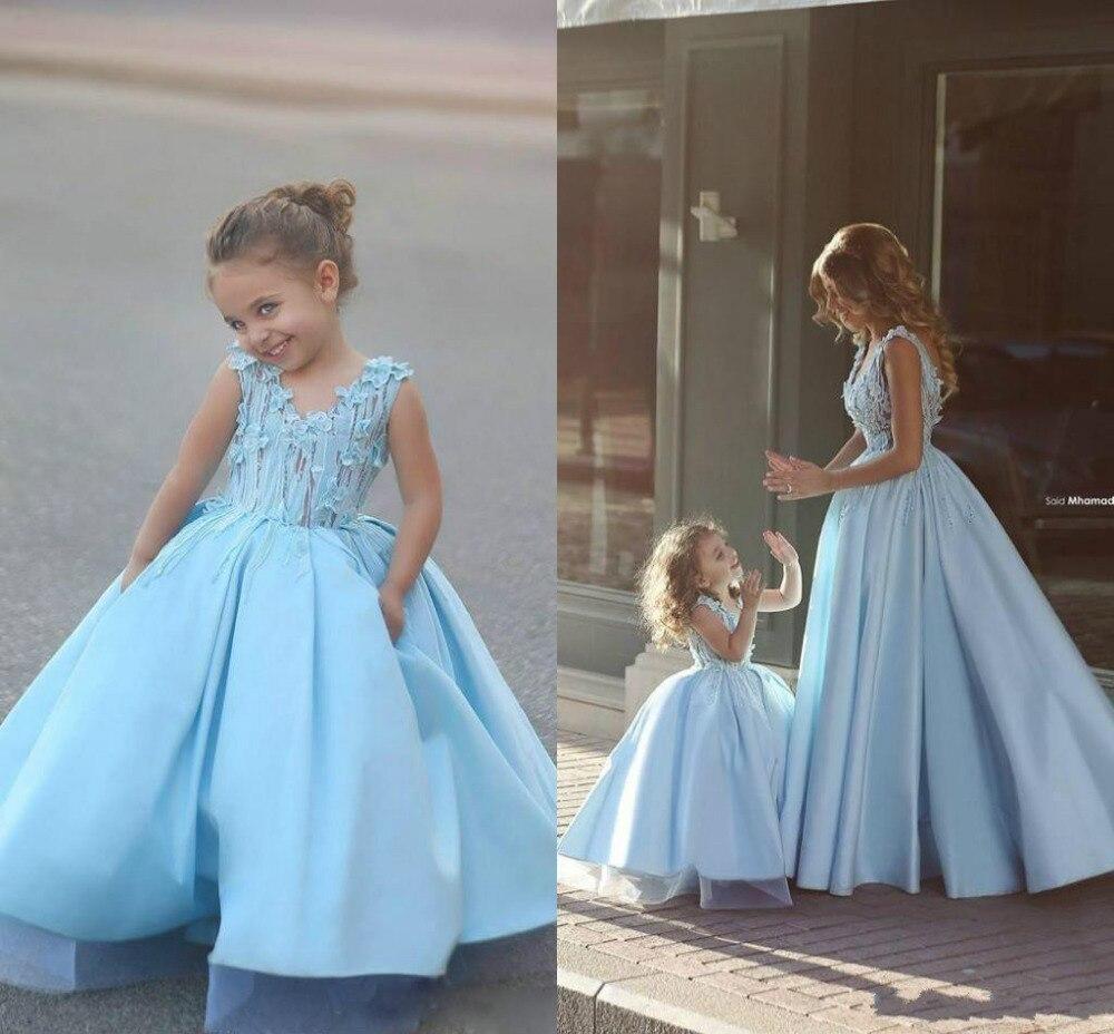 V neck blue dress kids