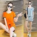 two piece set 2016 new fashion Leisure time motion Solid color cotton Edge Tie 2 piece set women harajuku shorts t shirt women