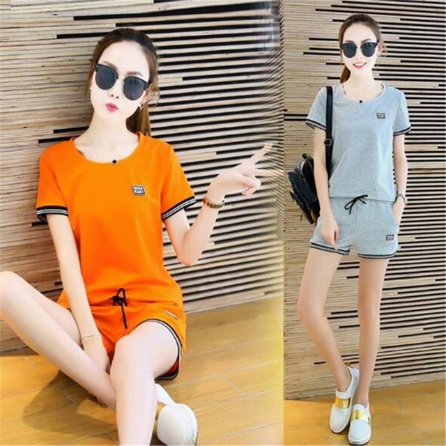 two piece set 2016 new fashion Leisure time motion Solid color cotton Edge Tie 2 piece set women harajuku shorts t shirt women