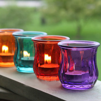 Romantic Color Glass Candle Holder Creative Tealight Candle Cup Party Supplies 4pcs Lot SH291