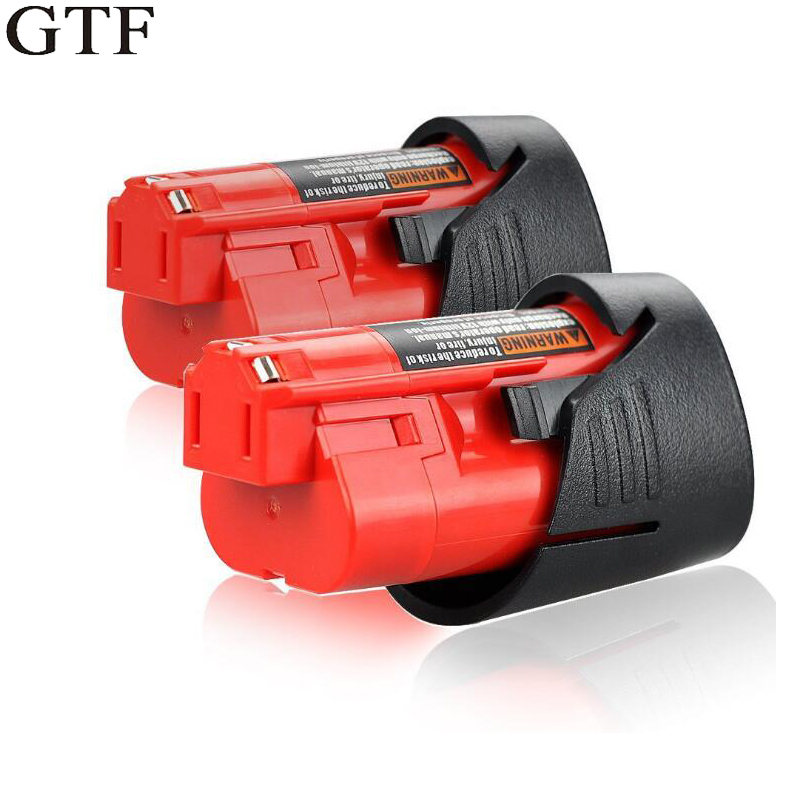 GTF <font><b>12V</b></font> <font><b>2000mAh</b></font> Power Tool Battery For Milwaukee M12 Li-ion Lithium Rechargeable Battery 48-11-2401 MIL-12A-LI Tool Batteries image