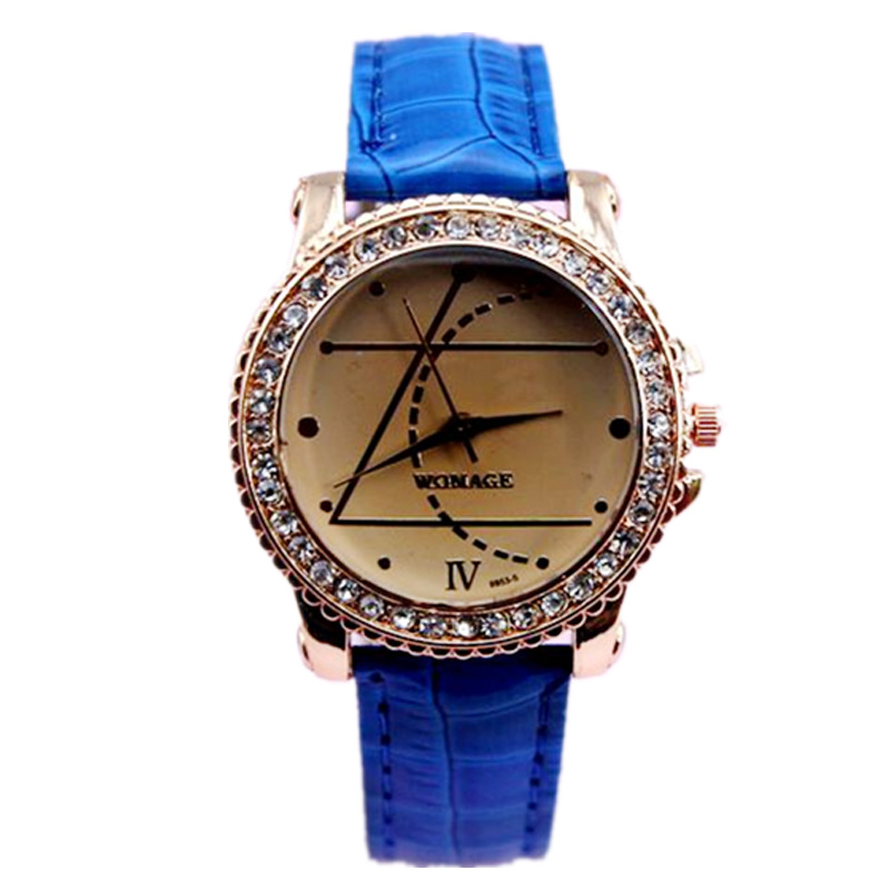 Фото New designer watch geometry crystal dial lady elegance wristwatch 8 colors leather strap high quality quartz watch for women men