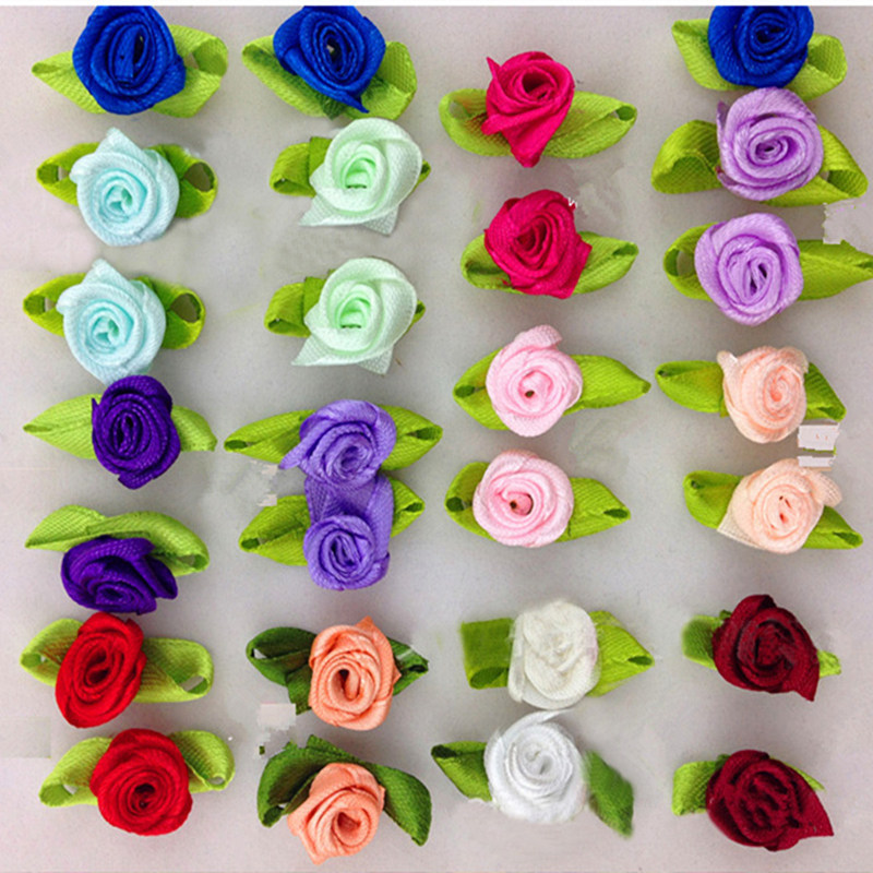 100pcs satin ribbon roses flower appliques scrapbooking for Arts and crafts wholesale