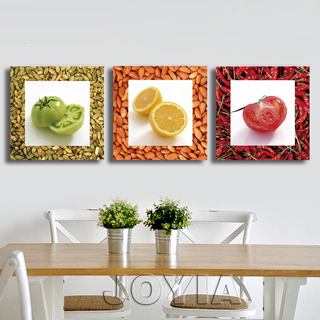 3 Piece Vegetable Fruit Seasoning Canvas Wall Art Picture Modern Oil  Paintings Prints For Kitchen Decor
