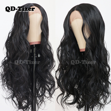 QD-Tizer Black Color Long Body Wave Hair Middle Part Lace Wigs