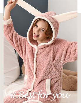 Maternity nightgowns Flannel Winter Thickened Hooded Pajamas Sleepwear Postpartum Breastfeeding Clothes Pregnant Women Nightwear