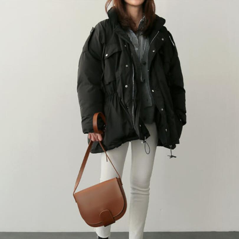 Allentato Solido Pengpious In Vita Femminile Cotone Coreano Donne Stile Il Colore Le Casuale Più Di Per Formato Giacca Cappotti Imbottito Laccio rw6Xr
