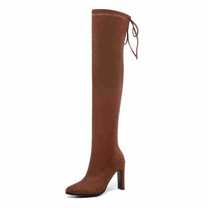 FAMSO New Boots For Women High Heels Thigh High Boots Black red Long Suede Keep Warm Winter Prom Motorcycle Boots Women 39 s Shoes in Over the Knee Boots from Shoes