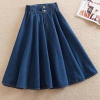plus size S-9XL!2019 spring Denim skirt women knee-length elastic high waist umbrella jeans skirt a-line