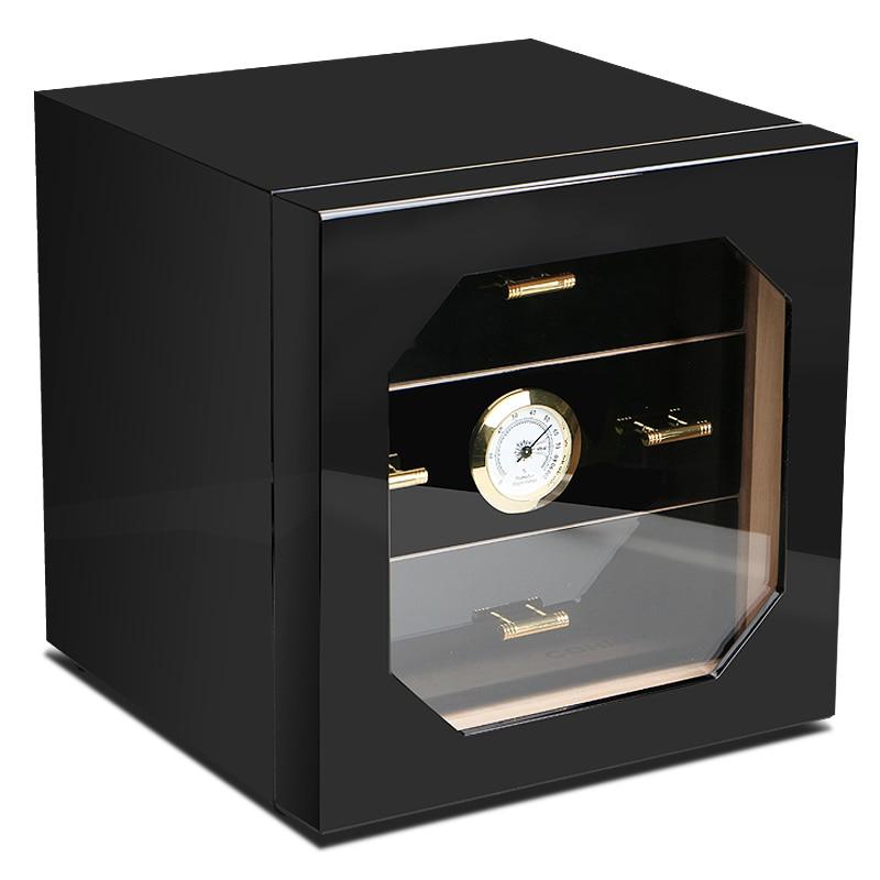 Prezzo di promozione! COHIBA Nero di Alta Lucido Legno di Cedro Cigar Humidor Cabinet Storage Box W/3 Cassetti Igrometro Umidificatore
