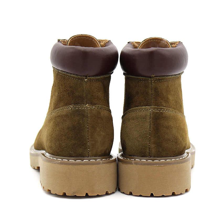 BIMUDUIYU 2019 ฤดูใบไม้ร่วง New COW หนังนิ่มรองเท้าบู๊ตหนังแท้รองเท้าหนังแฟชั่นการออกแบบ Botas รองเท้าลำลองรองเท้า