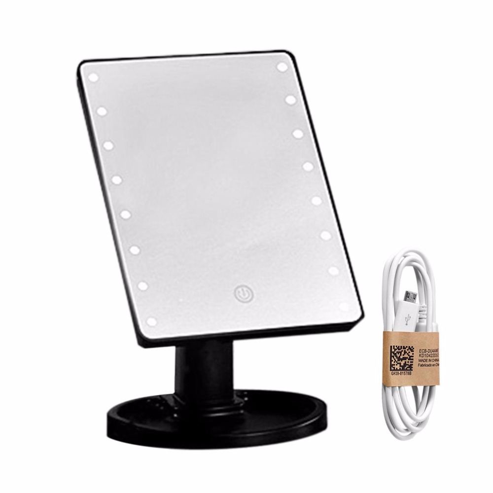 Compact 360 Degree Rotation Desktop Makeup Mirror 16LED Luminous Touch Screen USB Rechargeable Cosmetic Mirrors High Quality