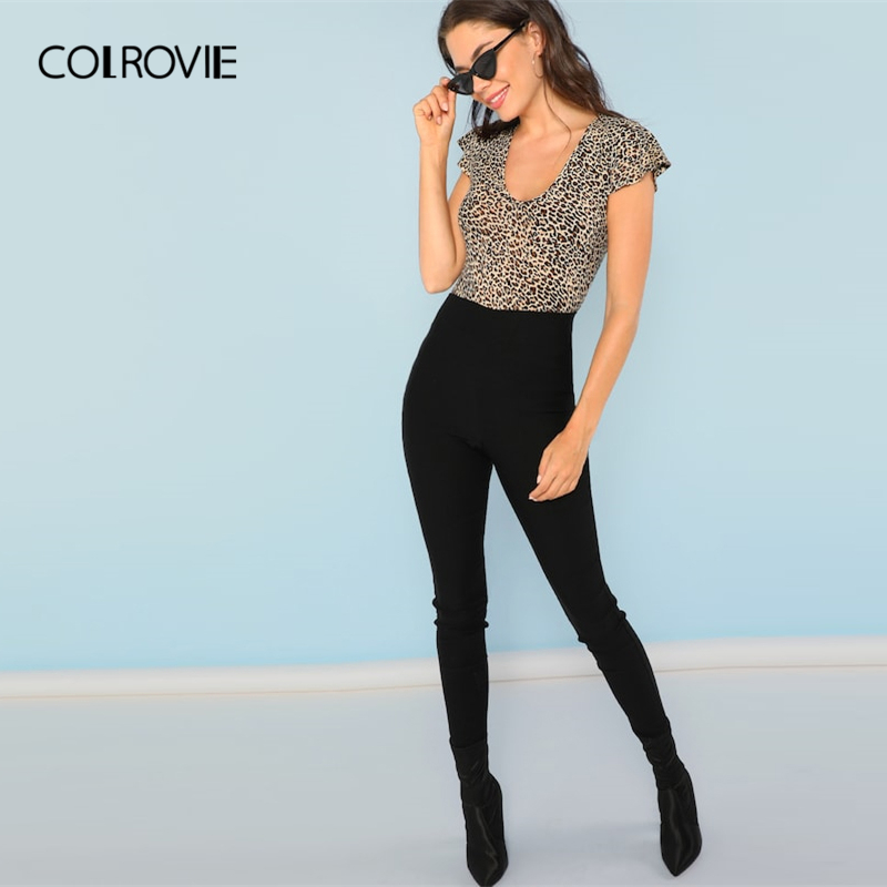 COLROVIE V-Neck Short Flutter Sleeve Leopard Print Casual T-Shirt Women 2019 Summer Sexy Basic Office Ladies Clothing Tee Shirts Women Women's Clothings Women's T-Shirts cb5feb1b7314637725a2e7: Multi