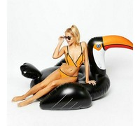 190cm Giant Black Toucan Float Pool Party Toys Ride on Swimming Ring Air Mattress For Adult Beach Inflatable Tube Lounger boia