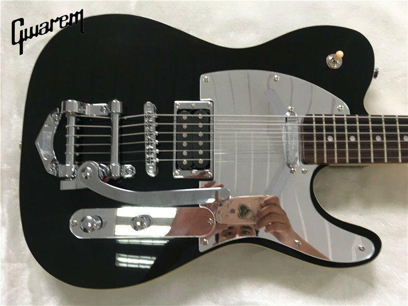 Électrique guitare Électrique guitare Gros nouvelle tl jazz électrique noir couleur avec le grand trémolo/oem guitare/guitare en chine