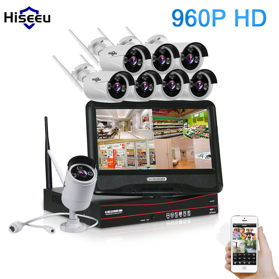 10 Inch Displayer 8CH 960P Wireless CCTV System Wireless NVR IP Camera IR-CUT Bullet CCTV Home Security System Kits 42