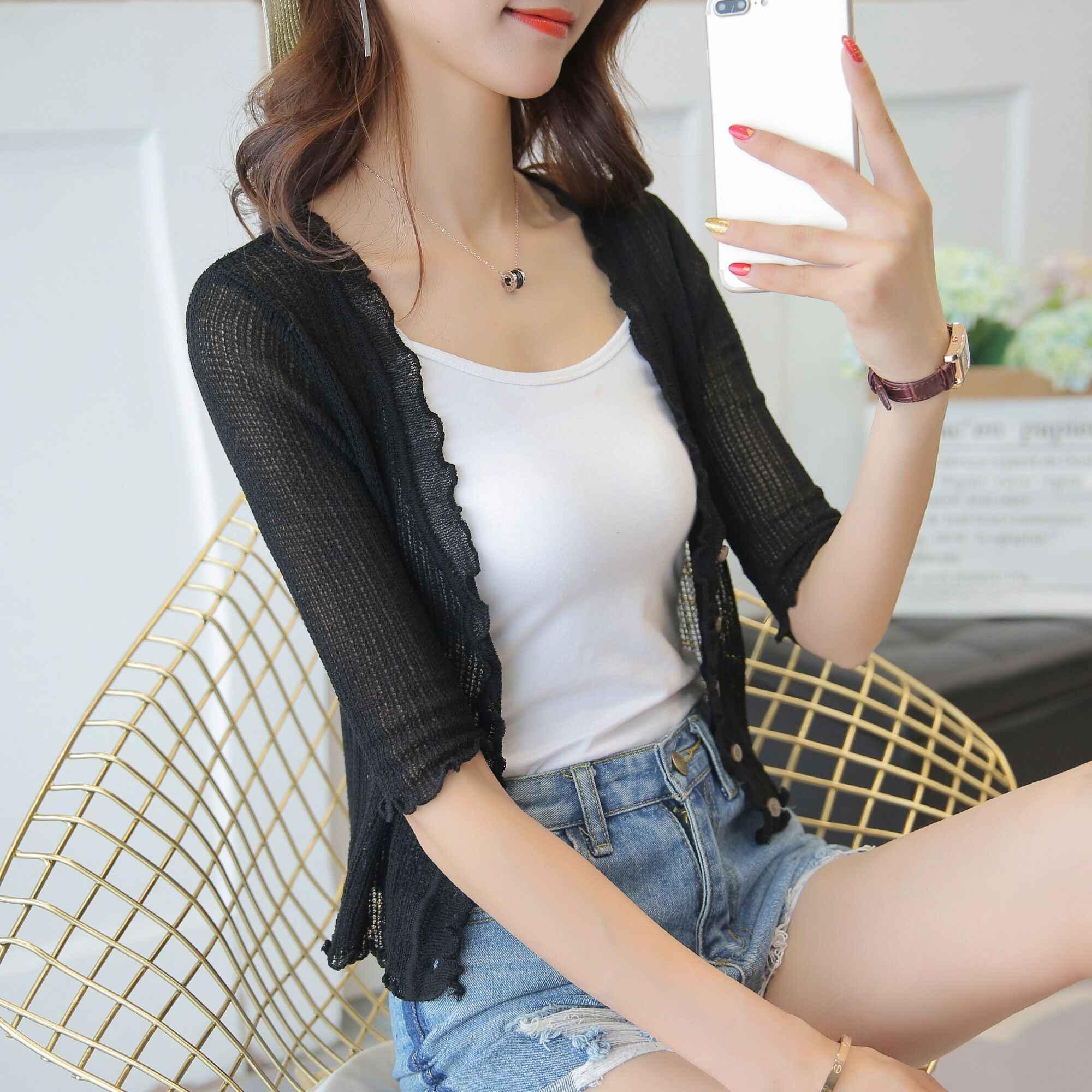 2018 새로운 카디건 여성 여름 에어컨 짧은 실크 카디건 셔츠 검은 곰팡이의 얇은 코트