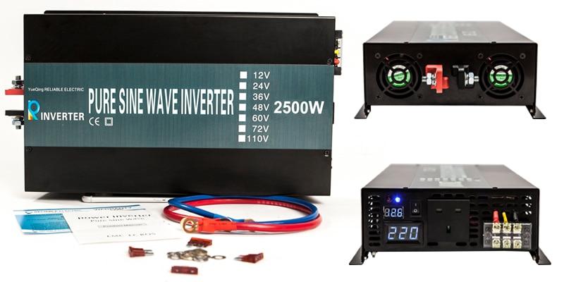 цена на Power Inverter2500W 12v 24v DC to Ac100v 120v 220v 240V Double LED Display Pure Sine Wave Solar Inverter Off Grid Inverter 2500w