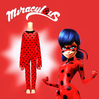 Kids Girls Miraculous Ladybug Cosplay Costume Jumpsuit Mask Fancy Dress Zentai Bodysuit